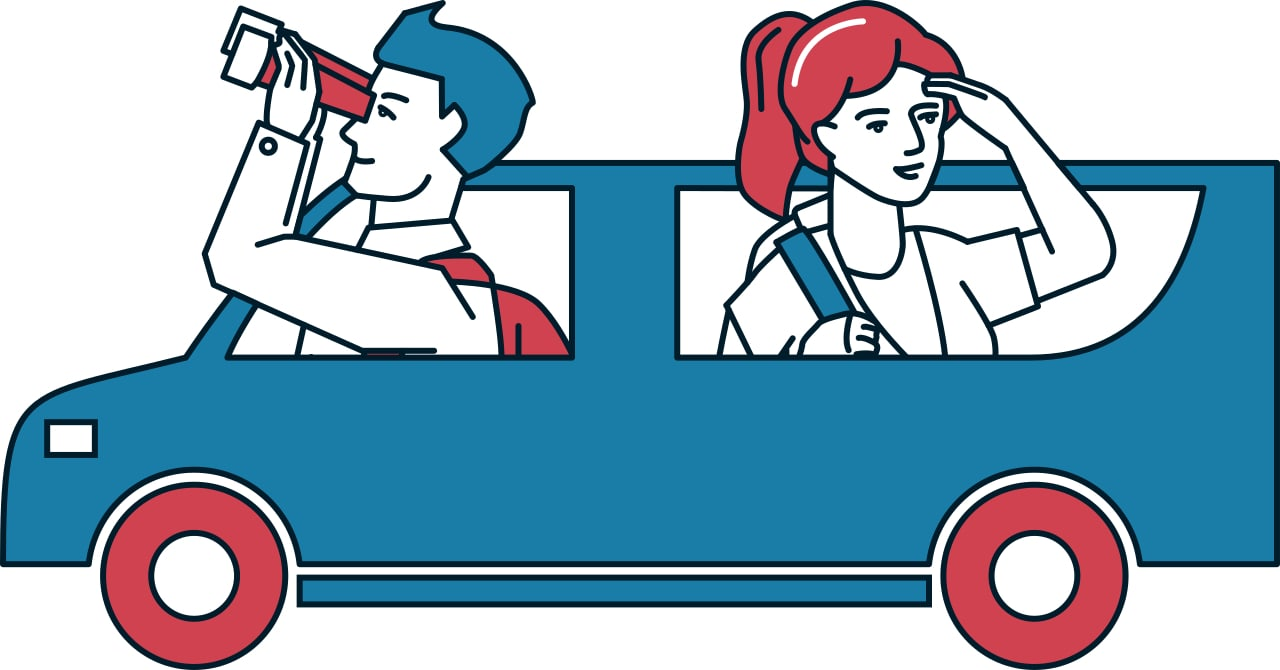 man and women in car